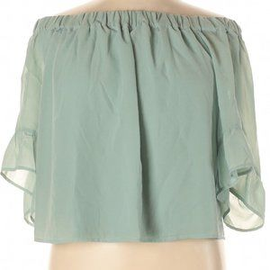 Express Outlet 3/4 Sleeve Cropped Blouse L Green